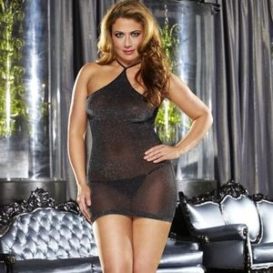 VIP Mini Dress Sheer Black